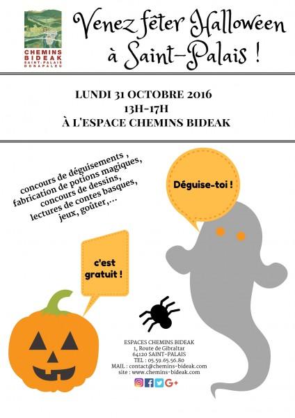 affiche de l'évènement d'Halloween à l'Espace Chemins Bideak